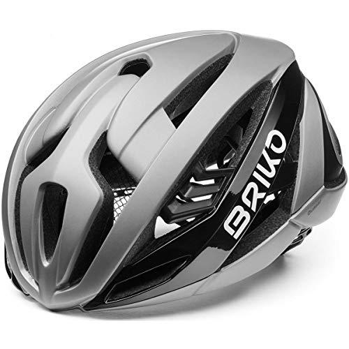 Briko Quasar - Casco da ciclismo, per adulti, unisex, Silver-Black, Large