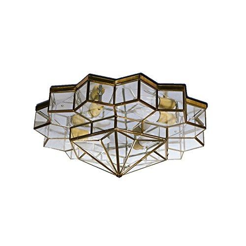 Plafón Granadino Artesanal Modelo Colinilla 7037/1EVTR (Envejecido -Cristal Transparente)
