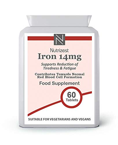 Iron Tablets 14mg - 60 Vegan Tablets (2 Month Supply of Iron Supplements) - Contributes to The Reduction of Tiredness and Fatigue - Suitable for Men and Women - Made in The UK by Nutrizest