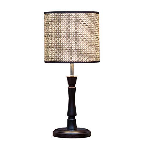 NO BRANG YYQIANG Traditioneller Holznachttisch Schreibtischlampe dimmbare Energiesparnachtlicht Moderne Leselampe mit handgemachter Rattan gesponnene Lampenschirm for Schlafzimmer Büro, 46cm