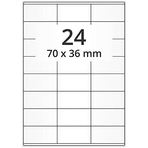 Labelident - Etiquetas de papel para impresoras láser en hojas DIN A4 (70 x 36 mm, 12000 unidades, autoadhesivas, 500 hojas), color blanco mate
