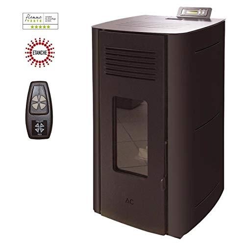 Poêle à granules HYDRO ELIO ETANCHE 13KW - Noir option télécommande
