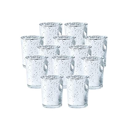 SUPREME LIGHTS Votive Candle Holders Silver Mercury Glass Tealight Holders for Christmas Decorations/Decor, Weddings, Parties, and Home Decor, Set of 12