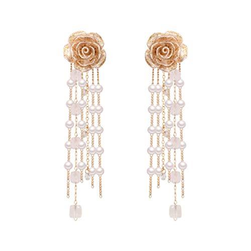 ABOOFAN Pendientes Colgantes de Flores Pendientes Largos de Perlas con Borla Pendientes de Gota Vintage Joyería de Oreja para Mujeres Y Niñas