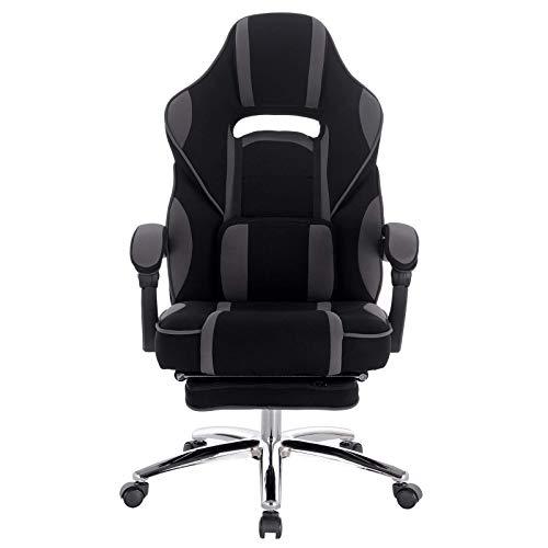 Sedia da ufficio in tessuto per la casa grigio Gaming Chair con supporto lombare Poggiapiedi testa cuscino regolabile sedia per computer giocare video giochi