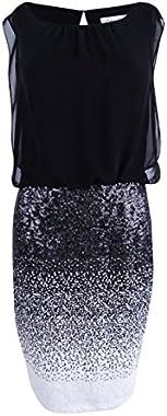 Calvin Klein Womens Ombre Sheer Overlay Cocktail Dress B/W 2 Black/White