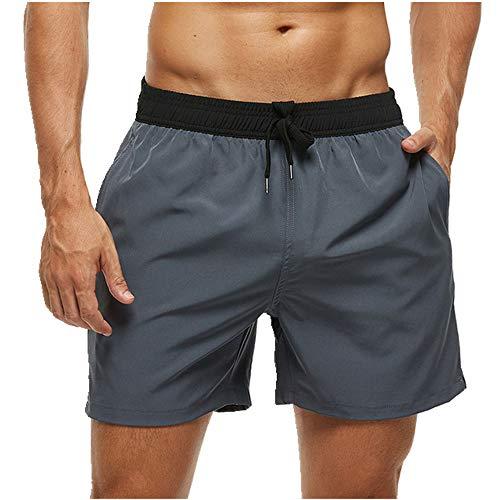 U/A - Pantalones cortos de playa de secado rápido con bolsillos con cremallera y malla para hombre