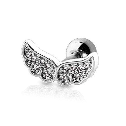 BlackAmazement Tragus Piercing Helix Ohr Flügel Angel Wing Engelsflügel Glitzer Zirkonia CZ schwarz Gold Silber Damen (Silber)