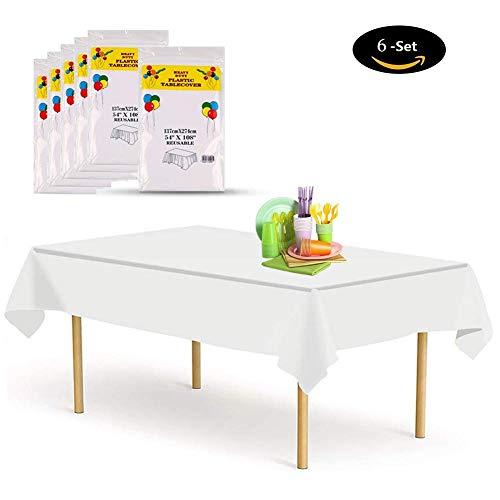 Zorara Tischdecke Einweg [6 Set], 137x274cm Tischdecke Plastik Garten Tischdecke Rechteckig Tischtuch Ideal für Parteien Feste Hochzeit, Indoor Outdoor Einweg Tischdecke Weiß