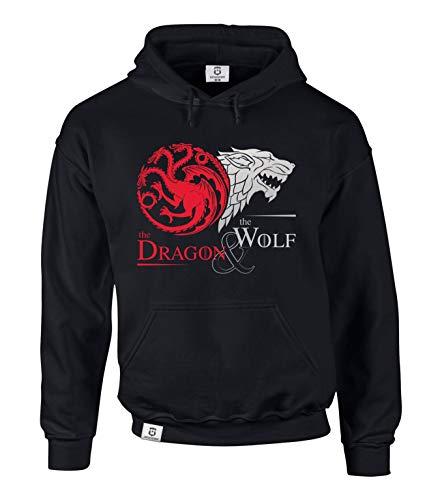 Game of Thrones - The Dragon & The Wolf - Targaryen & Stark - GoT Herren Hoodie - von Shirt Department, L, schwarz-Silber