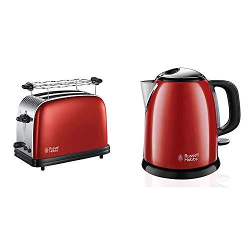 Russell Hobbs Toaster Colours+ rot, 2 extra breite Toastschlitze, 1670W, 23330-56 & Mini-Wasserkocher Colours+ rot, 1,0l, 2400W, Schnellkochfunktion, herausnehmbarer Kalkfilter, kompakter Teekocher