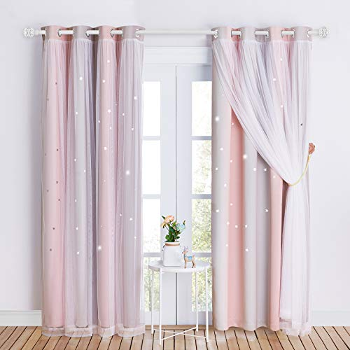 NICETOWN Kids Curtains for 84 inches Long, Baby Room Decor, Thermal Insulated Stylish Dressing White Sheer x Twinkle Star Blackout Drapes for Boy's Nursery (2 Pieces, Pink & Grey, Tie Backs Included)