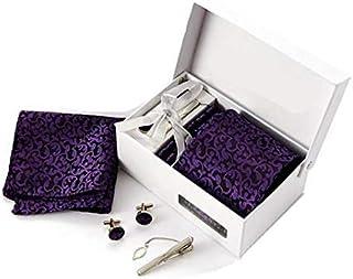 ربطة عنق البدلة التجارية شريط أرجواني ربطة عنق قيمة مجموعة قطعة 6 للرجال