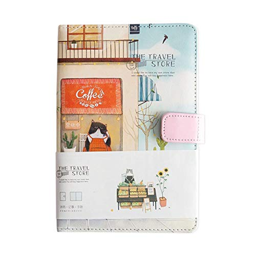 TOSISZ A5 Van Gogh Cute Leather Pocket Bullet Journal Planner Filofax Weekly Diary Travelers Notebook with Colored Pages Stationery,Travel Cat Hotel-B