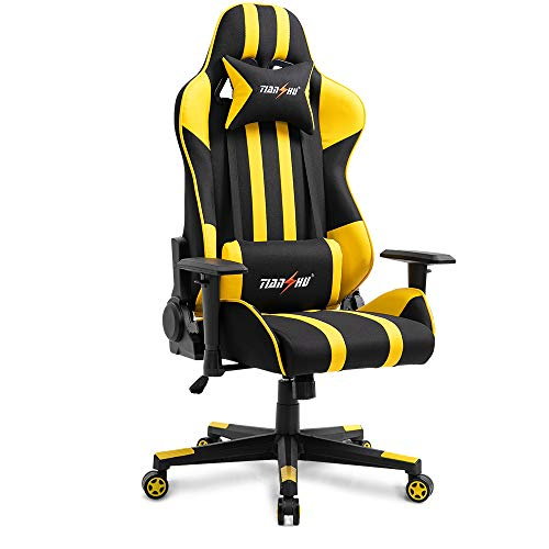 TIANSHU Gaming Chair High Back Computer Game Chair Office Chair PP Fabric & PU Leather Racing Chair PC Ergonomic Chair with Headrest and Lumbar Pillow Adjustable Swivel Chair E-Sports Chair, Yellow
