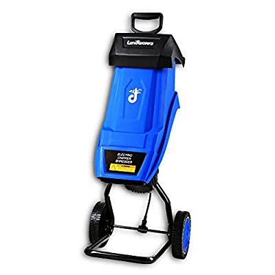 Landworks Wood Chipper Shredder Electric Light Duty 17:1 Reduction 15-Amp 1800 Watts 120VAC (2) Reversible Dual Edge Blades for Lawn & Garden Use or Fire Prevention/Building a Firebreak
