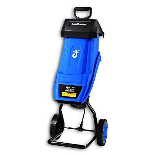Landworks Wood Chipper Shredder Electric Light Duty 17:1 Reduction 15-Amp 1800 Watts 120VAC Dual Edge Blades for Lawn and Garden Use or Fire Prevention Building a Firebreak