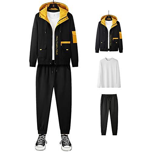 Jamron Hombre 3PCS Chandal de Moda Chaqueta con Capucha + Manga Larga Camiseta + Pantalones Deportivos Negro SN07914 M