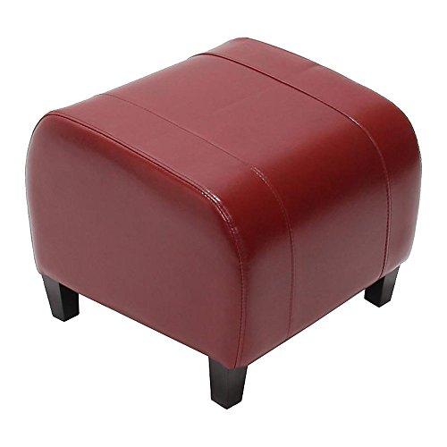 Mendler Hocker Sitzwürfel Sitzhocker Emmen, Leder + Kunstleder, 37x45x47 cm ~ rot
