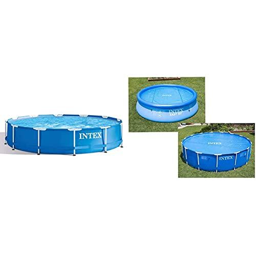 Intex Piscina Elevada Metal Frame 6503 litros, 366 X 76 Cm + 29022 Cobertor Solar para Piscinas 366 Cm De Diámetro