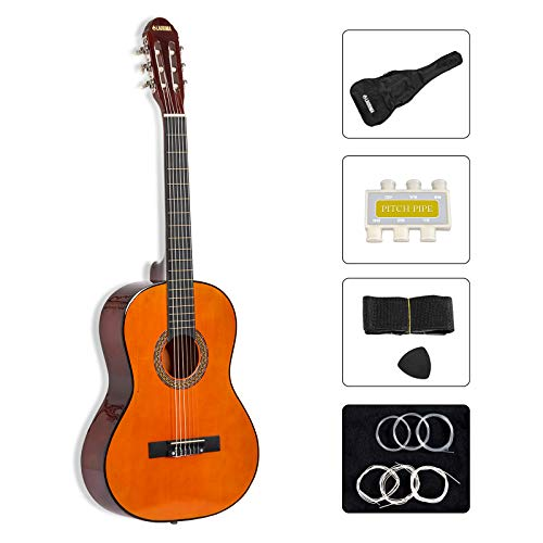 "LAGRIMA 39"" Classical Guitar Nylon String Guitar,Beginners Guitar with Guitar Case, Strap, Tuner, Picks (Brown)"