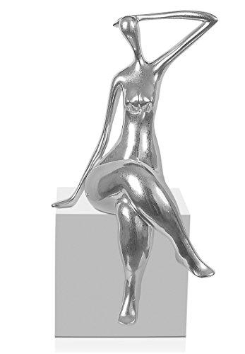 Arte dal Mondo Attesa Scultura Piccola, Resina, Argento, 38x21x17 cm