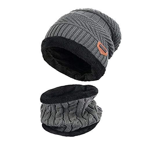 Ereach Invierno Gorros de Punto con Bufanda de Hombre Conjunto de Bufanda Sombrero con Forro de Lana para Hombre de Invierno (Gris)