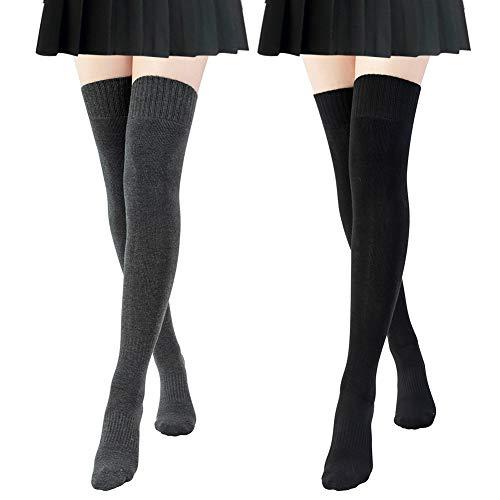 Chalier 2 Paar Kniestrümpfe Damen Overknee Strümpfe Wintersocken Oberschenkel hohe Strümpfe Einfarbige Klassische Lange Socken Retro Knitting Strümpfe