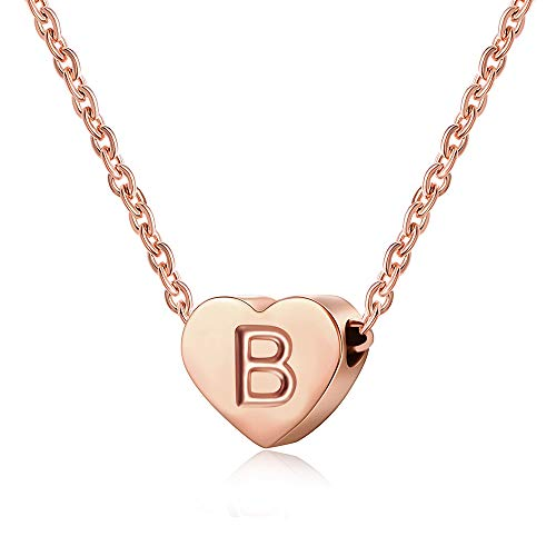 AFSTALR Heart Letter Initial Necklace for Girls - 18K Rose Gold Plated Girls Charm Pendant Personalized Kids Child Jewellry Gifts Necklace Letter B Rose Gold