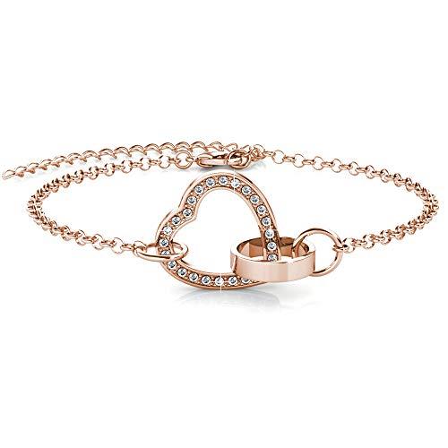 MYC-Paris, Locked Heart Pulseras, Cristal de Swarovski, Oro Rosa