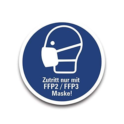 Aufkleber Gebot Zutritt nur mit FFP2 / FFP3 Maske! Schild Folie Ø5-40cm | ähnl. ISO 7010 | blau Made in Germany, Größe: Ø30 cm