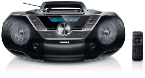 Philips CD Player AZ780/12 CD Radio (MP3/WMA-CD-Wiedergabe, Digitaler UKW-Tuner, 2 Watt RMS, 3,5-mm-Audioeingang, Fernbedienung) Schwarz