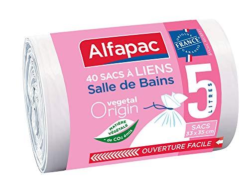 ALFAPAC - 40 sacs 5L à lien traditionnel - Sacs-Poubelle pour salle de bains - Matière d'origine végétale - Fabriqué en France