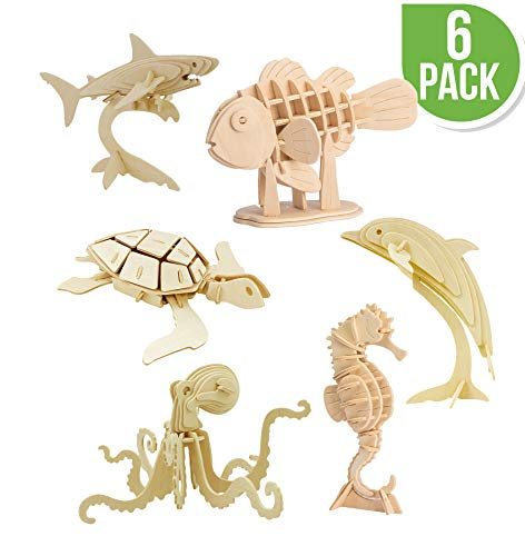 Hands Craft DIY 3D Wooden Puzzle Bundle Set, Pack of 6 Sea Animals Brain Teaser Puzzles | Educational STEM Toy for Kids and Adults | Safe and Non-Toxic Easy Punch Out Premium Wood | (JP2B5)