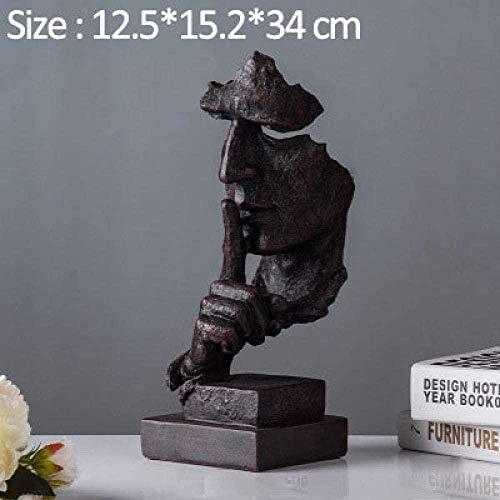 YsKYCA Estatua Escultura Decoración,Adornos Estatuas Y Figuritas Pensador No Habla Silencio Artesanías Antiguas para El Hogar Adornos Muebles De Escritorio-A