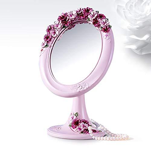 MGWA Compacto Espejos Lindo Patrón Vertical Azul/Rosa 180 Resina rotativa + Lente de Vidrio + Hebilla de Hierro Elíptica Maquillaje Espejo (Color : Pink)