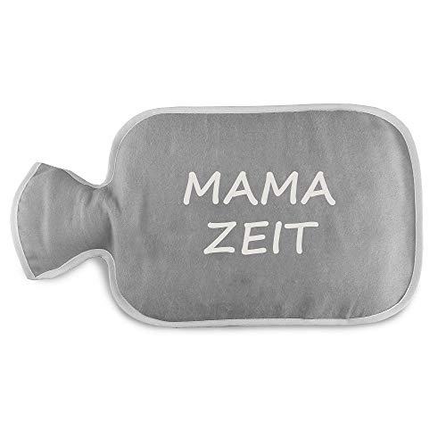 4youDesign Wärmflaschenbezug mit Wärmflasche Mama Zeit Geschenk Geschenkidee Mütter Frau Schwangerschaft Geburt Kind Muttertag (grau, mit Wärmflasche)