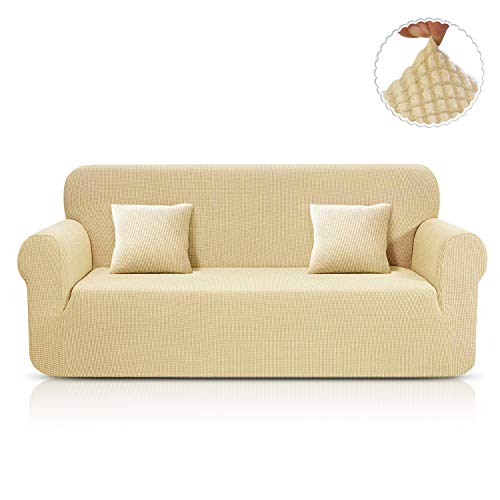TAOCOCO Sofa Überwürfe Jacquard Sofabezug Elastische Stretch Spandex Couchbezug Sofahusse Sofa Abdeckung in Verschiedene Größe und Farbe (Beige, 3-sitzer(180-230cm))