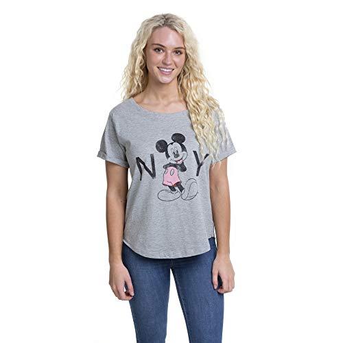 Disney Mickey Mouse New York Camiseta, Gris (Sport Grey SPO), L para Mujer