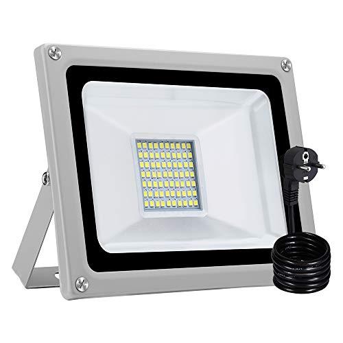 30W LED Fluter Außen Strahler Flutlicht mit EU-Stecker IP65 wasserdicht Super Helle Flut- & Spotbeleuchtung Außenbeleuchtung für Garten, Sportplatz,Fabriken, Anklagebänke (Kaltes Weiß, 4 Stück)