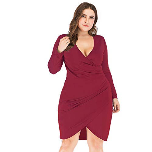 Shisay Women's Sexy V-Neck High Waist Slim Dress Plus Size Long Sleeve Solid Mid Dresses Red