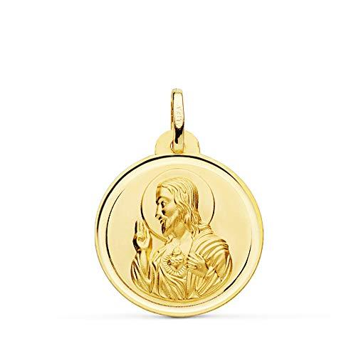 Colgante Medalla Corazón de Jesús Oro 18 Kilates Bisel 22mm - Grabado personalizado