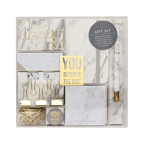Marble White Stationery Gift Set Modern Marble Office Supplies Kit with Gold Paper Binder Clips Fountain Pen Badge Mini Notebook Sticky Notes Pad 86 Pcs Gift Set