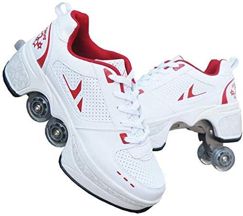 FLY FLQ Patines De Ruedas De Cuatro Ruedas Deformados, Invisible De Polea De Zapatos, Zapatos Multiusos 2 en 1 Patines Zapatillas Deportes Al Aire Libre De Deporte,White-Red-39