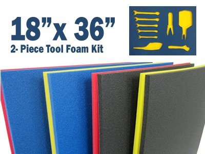 "5S Tool Box Shadow Foam Organizers (2 Color) Custom Size (18"" x 36"", Black Top/Red Bottom)"