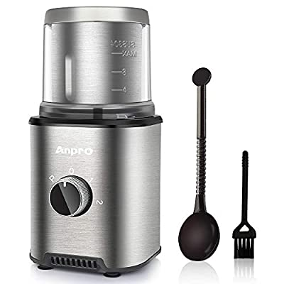 Anpro Coffee Grinder Electric 300W, Automatic Coffee Grinder with 100g Capacity Detachable Stainless Steel Container, Electric Grinder for Coffee Beans/Nuts/Spices by Anpro
