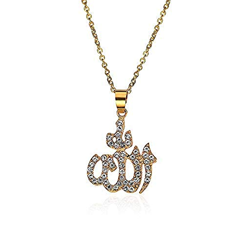 JIUJIN Arabisch-muslimisches islamisches Totem Allah Allah Goldkette mit Diamantkruste für Frauen