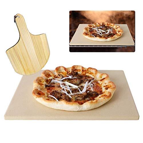 Crabitin Pizzastein, 1 Set Backstein Kochstein Holz Pizzaschieber Paddel für Ofen...