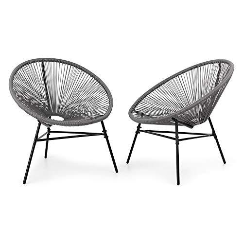 blumfeldt Las Brisas stoelen tuinstoelen - set van 2, retro design, bekleding gemaakt van 4 mm mesh, materiaal frame: gepoedercoat staal, weerbestendig, grijs