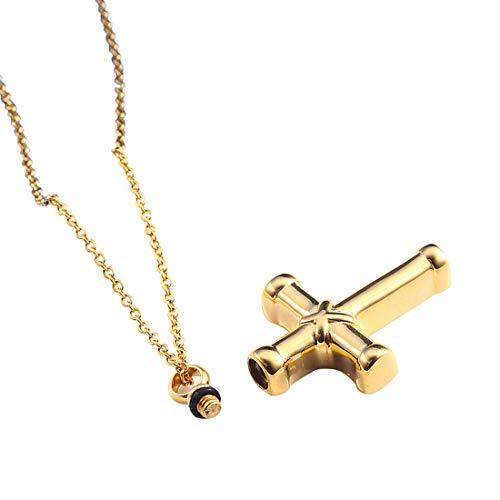 Urn ketting voor as, roestvrij staal kruis vorm hanger crematie Urn sieraden Keepsake Goud